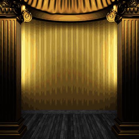 zuilen: vector bronzen kolommen en behang