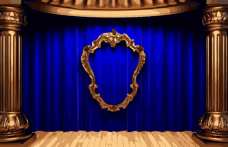 opulent: vector golden frame and blue curtain stage