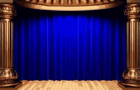 opulent: vector blue curtain stage Illustration