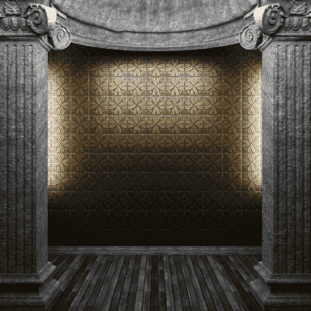 tile wall: vector stone columns and tile wall