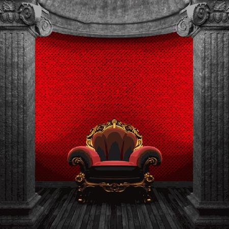 zuilen: vector stenen zuilen, stoel en wallpaper Stock Illustratie