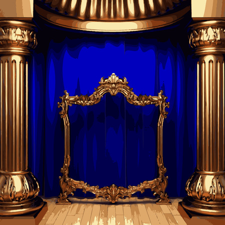 announcer: vector golden frame and blue curtain stage