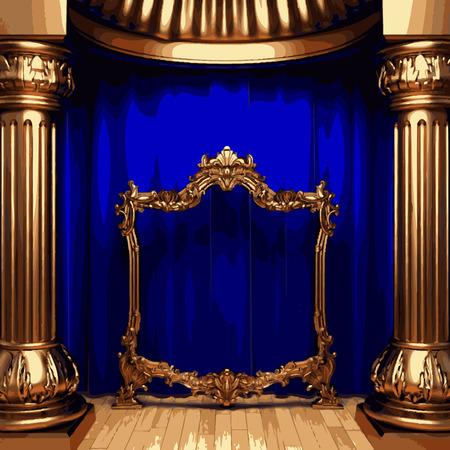 carmine: vector marco de oro y la etapa cortina azul Vectores