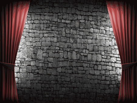 opulent: vector velvet curtain and stome wall background