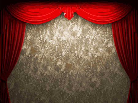 opulence: vector velvet curtain and stome wall background