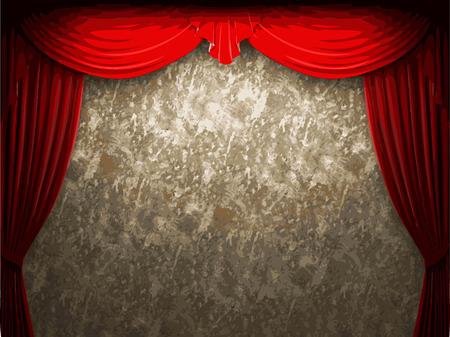 carmine: vector velvet curtain and stome wall background