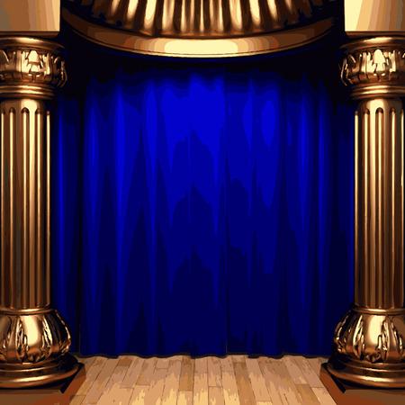 vector blue velvet curtains behind the gold columns Illustration