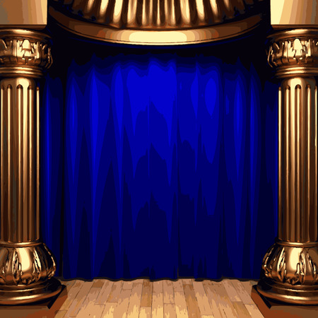 ambiance: vector blue velvet curtains behind the gold columns Illustration