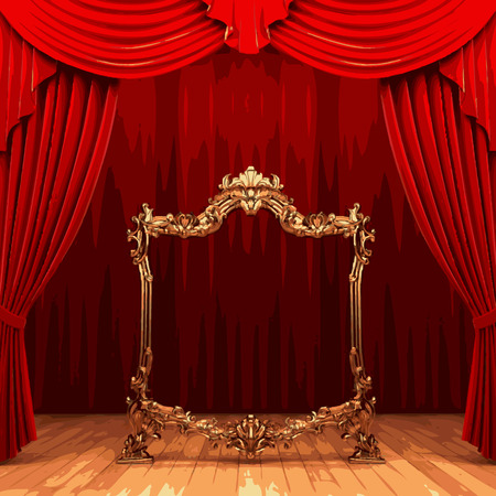 vector golden frame and rev curtain stage Illustration