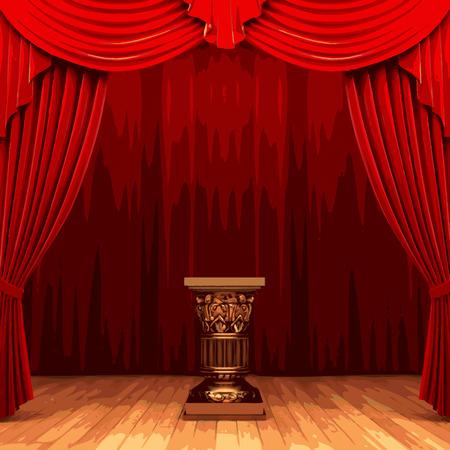 spectator: vector red velvet curtain stage