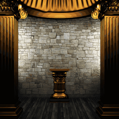 zuilen: stenen muur en gouden kolommen