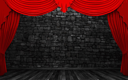 ambiance: red velvet curtain stage