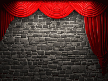 playhouse: velvet curtain and stone wall background