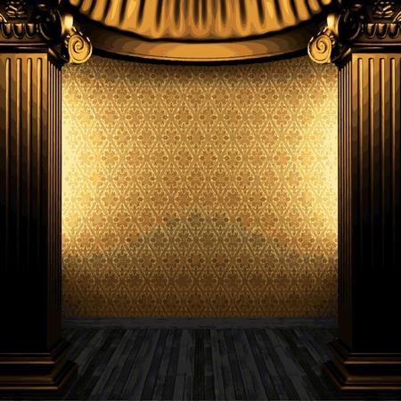 bronze: bronze columns and wallpaper