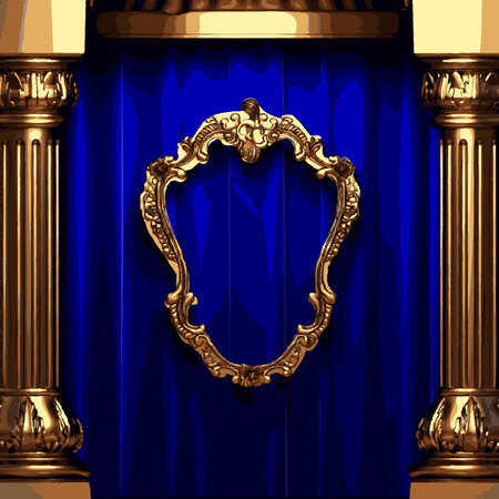 ambiance: golden frame and blue curtain stage