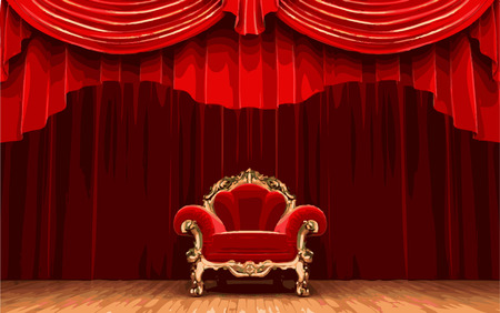 playhouse: vector chair on red curtain stage