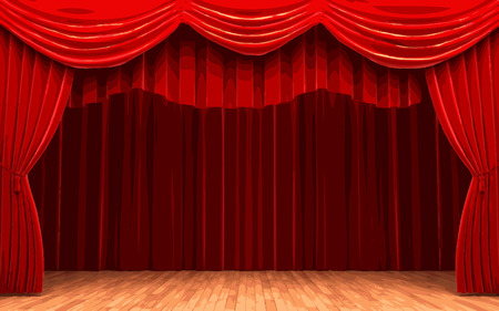 red velvet: vector Red velvet curtain opening scene