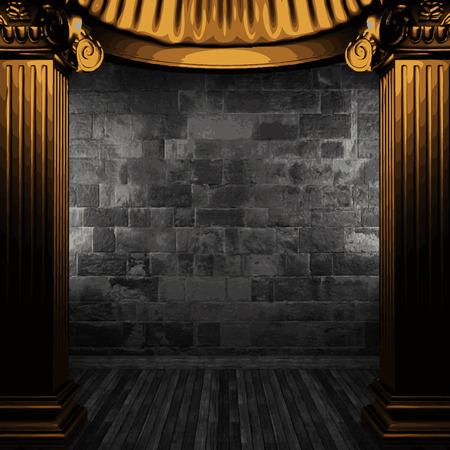 zuilen: vector stenen muur en gouden kolommen