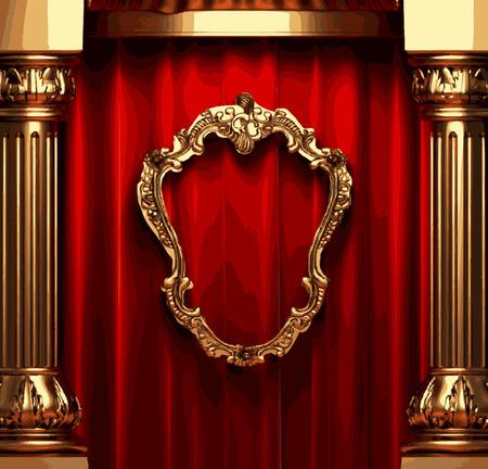 opulent: vector golden frame and rev curtain stage Illustration