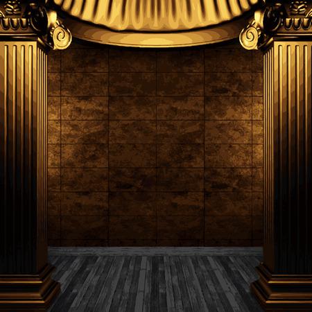 tile wall: vector bronze columns and tile wall Illustration