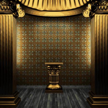 vector bronze columns, pedestal and tile wall