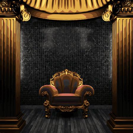 zuilen: vector bronze columns, chair and tile wall
