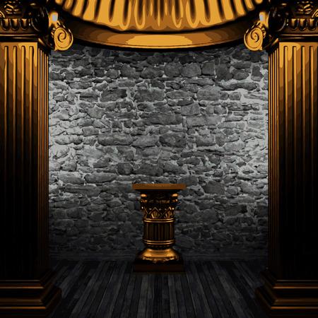 zuilen: vector stone wall and golden columns Stock Illustratie