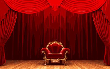 scenario: vector chair and red curtain stage