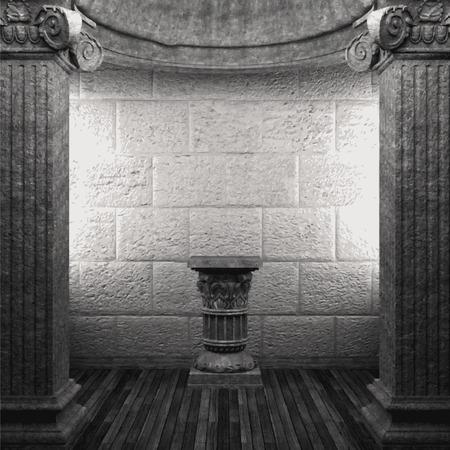 zuilen: vector stenen zuilen en voetstuk Stock Illustratie