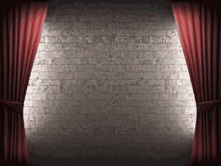 scenario: vector velvet curtain and stone wall background Illustration