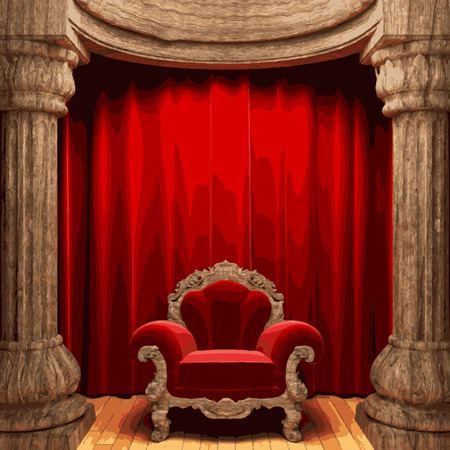 lyric: vector chair and red curtain stage