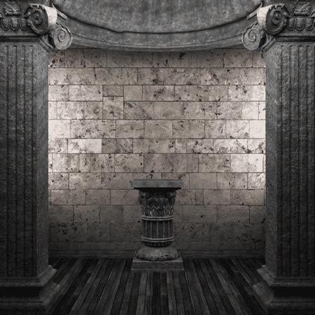 pilaster: vector stone columns and pedestal Illustration