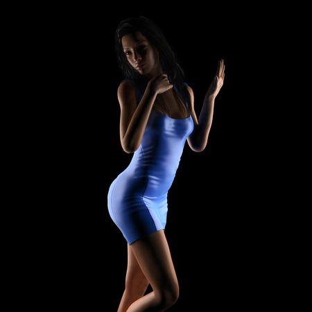 femme brune sexy: Sexy femme brune posant en studio sombre