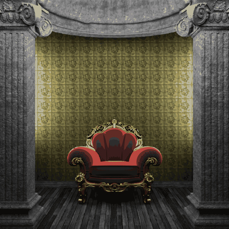 tile wall: vector stone columns, chair and tile wall Illustration