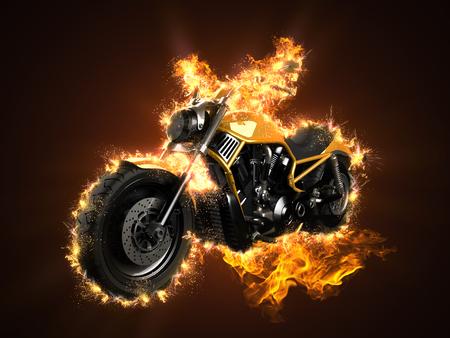 touring: luxury chopper motorbike in fire