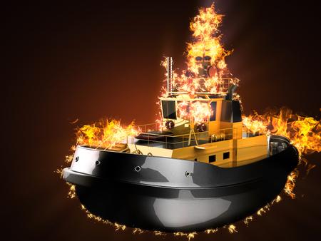 Tugboat: tugboat in fire