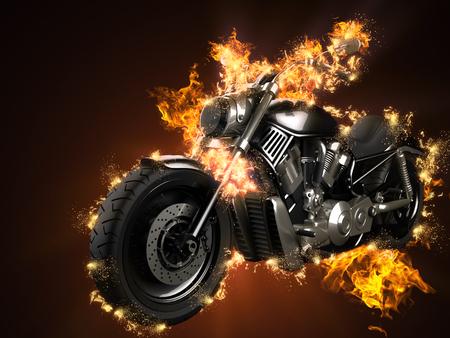 chopper: luxury chopper motorbike in fire