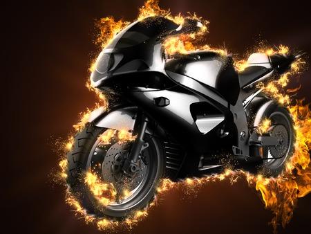 luxury sportbike in fire Stock Photo