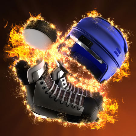 puck: hockey puck and hockey equipment in fire Stock Photo