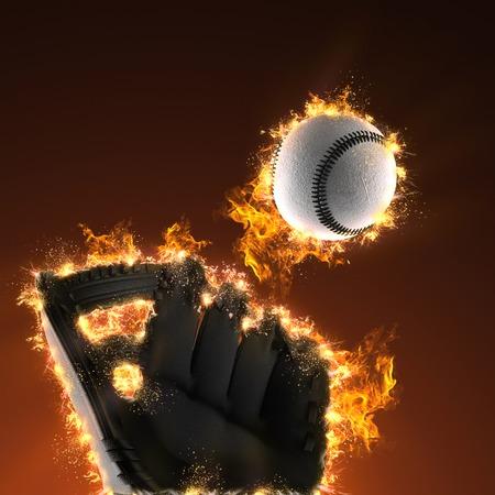 mitt: Baseball and mitt in fire
