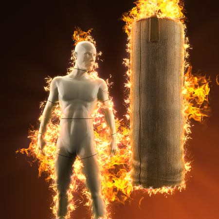beat the competition: mannequin with punching bag in fire Stock Photo
