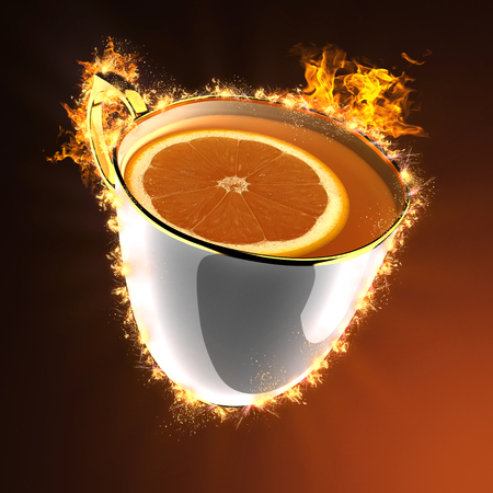 stimulated: cup of tea in fire