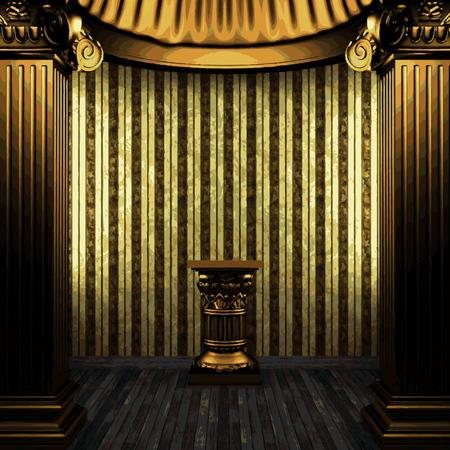 vector bronze columns, pedestal and wallpaper