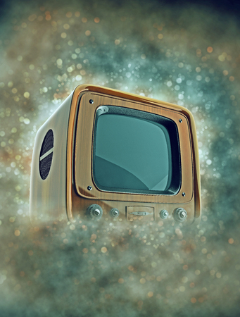 broadcasting: Retro tv with wooden case in smoke with bokeh