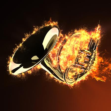 fanfare: brass trumpet in fire