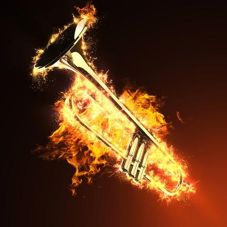 brass trumpet in fire