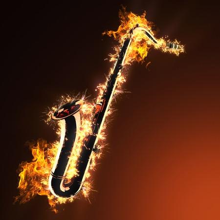 soprano saxophone: Oro Saxofón Tenor en el fuego