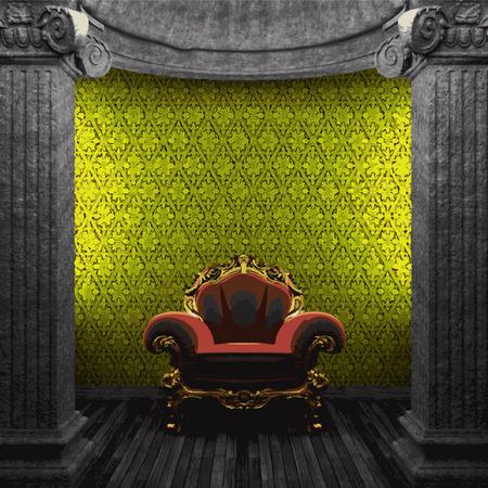 zuilen: vector stone columns, chair and wallpaper