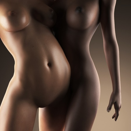 Two beautiful nude sexy lesbian women in erotic foreplay game in dark studio