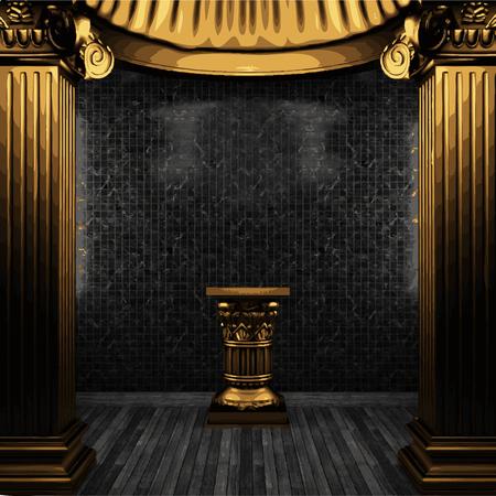 pedestal: vector bronze columns, pedestal and tile wall